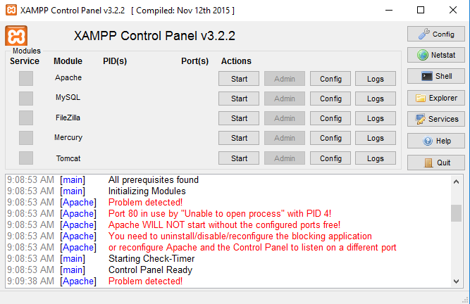 XAMPP Control Panel V3.2.2